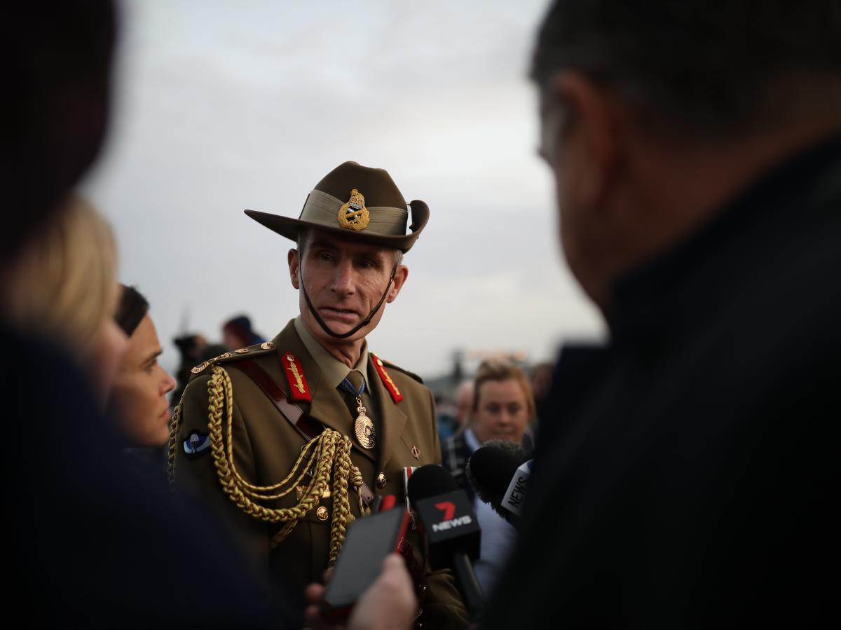 Australia's Defense Force Chief Gen. Angus Campbell talks to members of the media following a ceremony at the Lone Pine Cemetery in Turkey in April 2018. Some point to him as an example of how to conduct civil military relations.