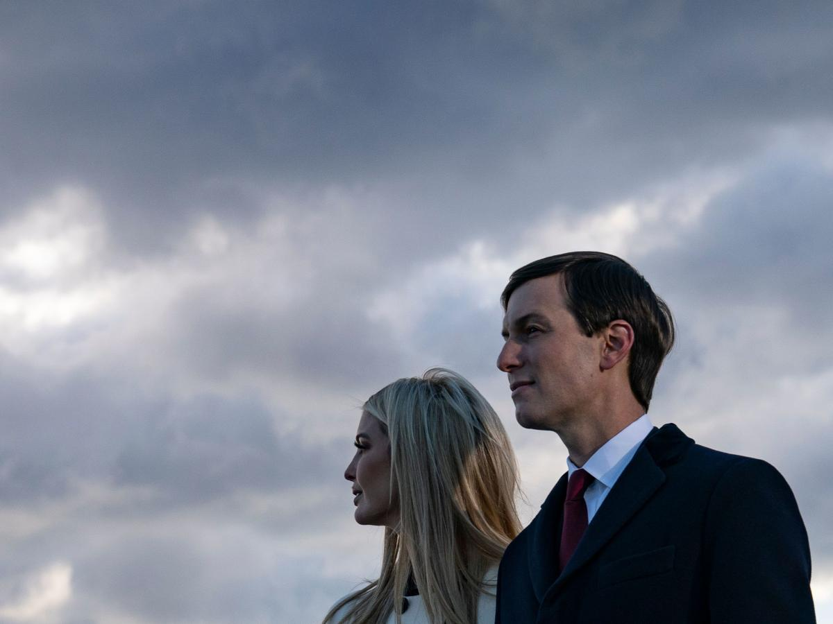 Ivanka Trump, daughter of the former president, and her husband, Jared Kushner, attend her father's departure from Washington, D.C., on Jan. 20 at Joint Base Andrews in Maryland.