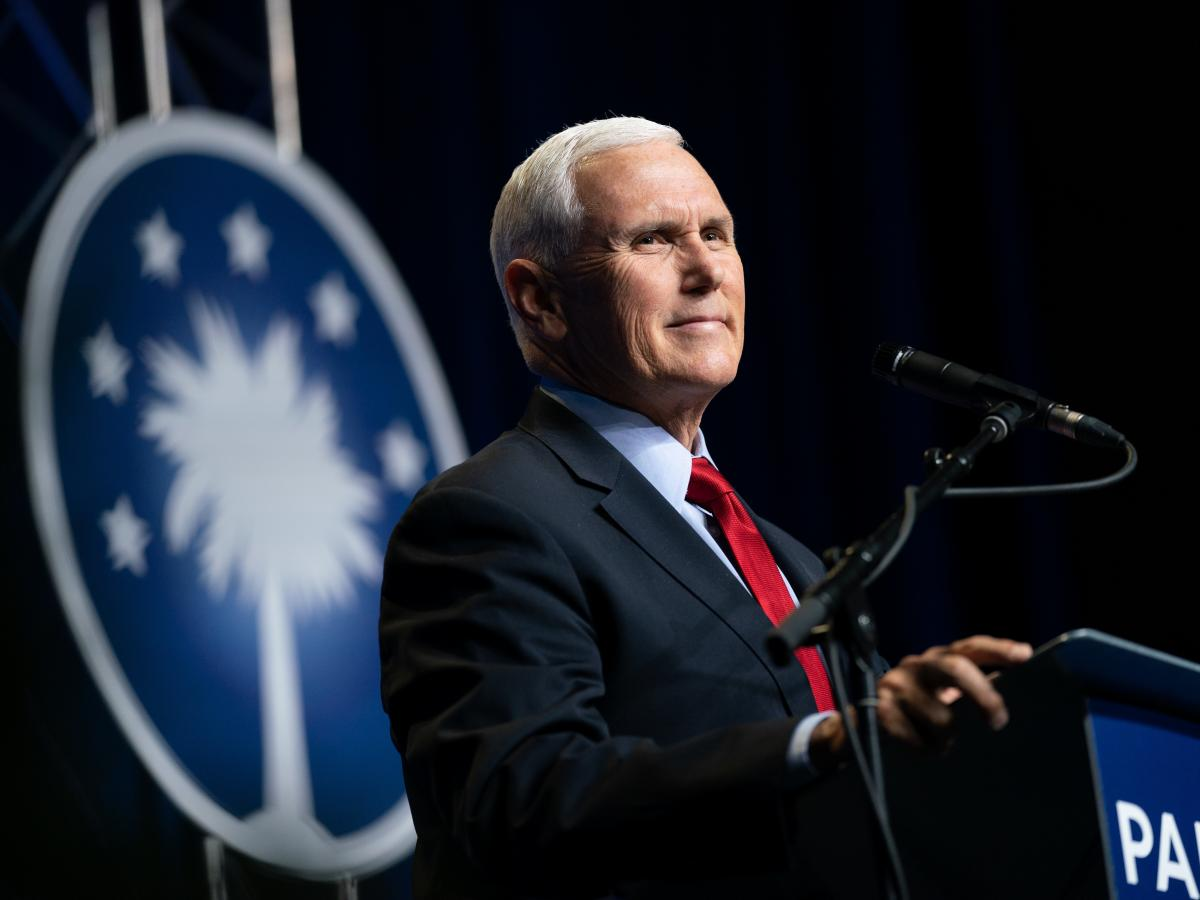 Former Vice President Mike Pence addresses a crowd in Columbia, S.C., at an April event sponsored by the Palmetto Family Council.