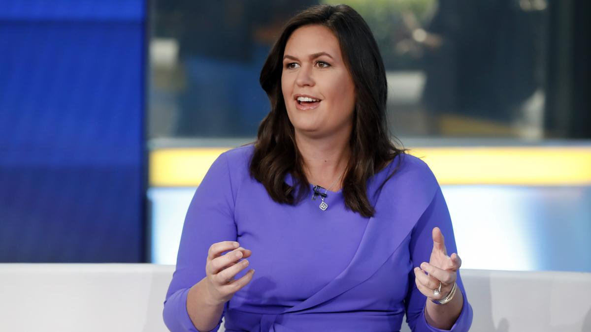 """Sarah Huckabee Sanders, former White House press secretary, is seen during a 2019 appearance on the """"Fox & Friends"""" TV show."""