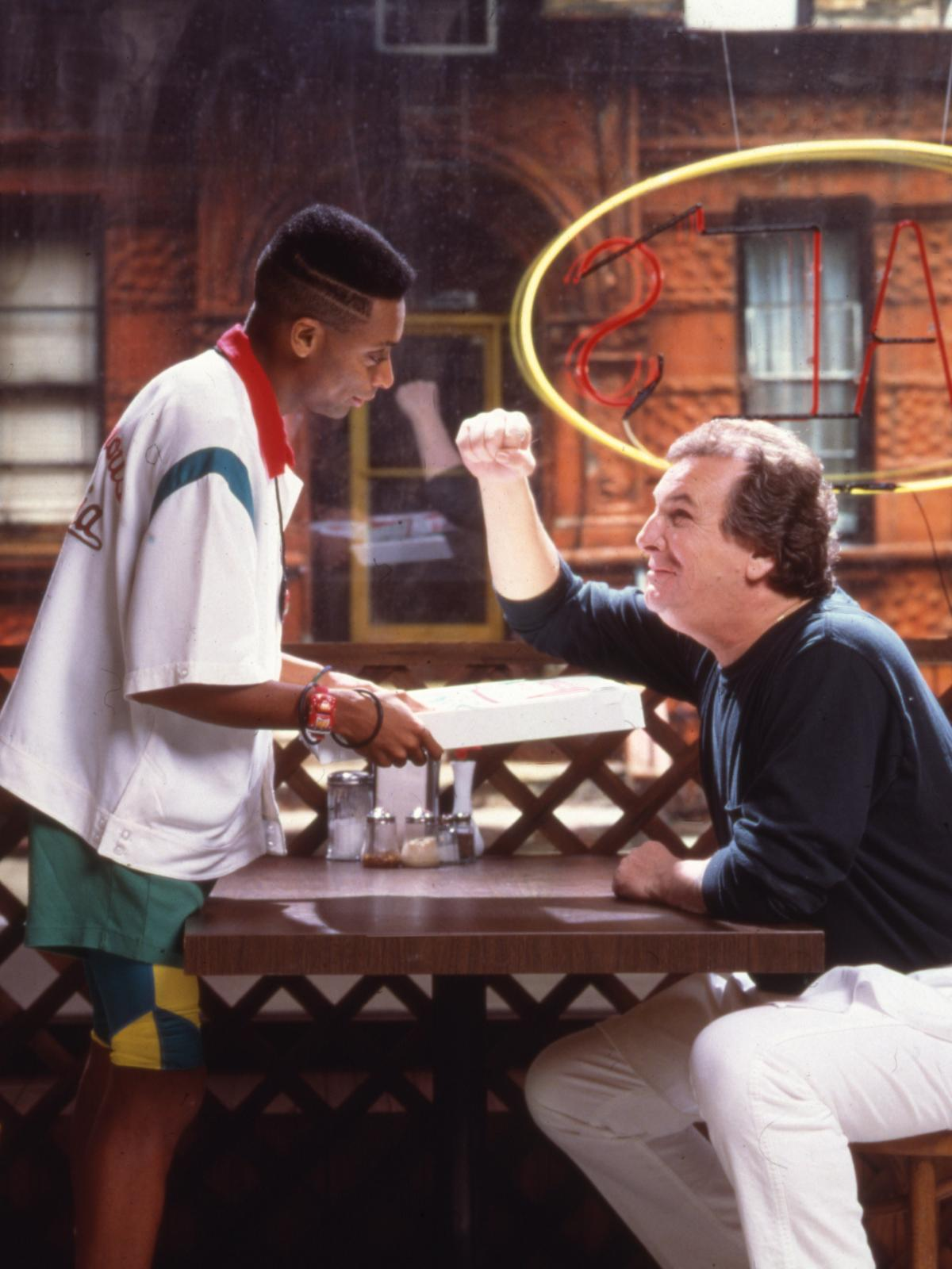American film director and actor Spike Lee, left, and actor Danny Aiello on the set of their 1989 film 'Do the Right Thing.'