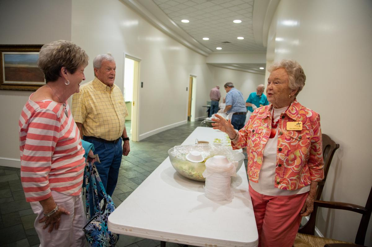 """Sara Jane Lyon volunteers at the First Baptist Church in Montgomery. She says her late husband, who led an all-white church for 21 years in Selma, Ala., felt that pushing for integration would upset his congregation and """"accomplish nothing."""""""