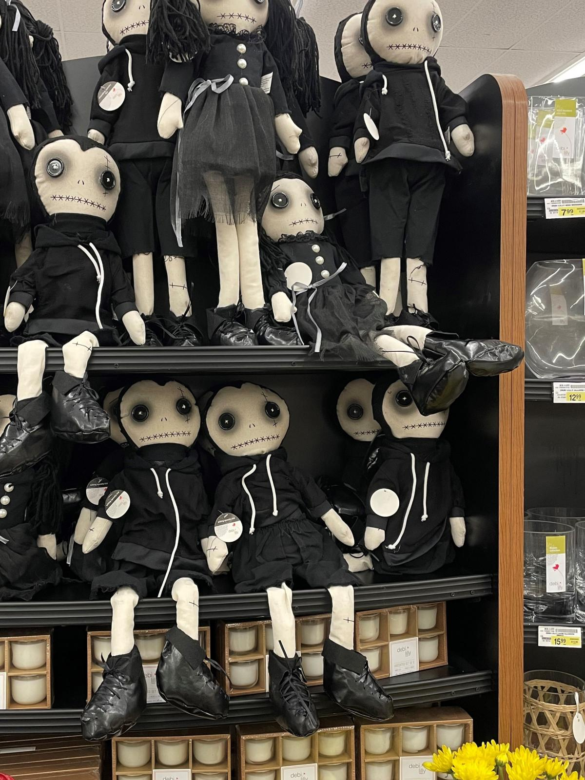 A shelf full of Goth dolls for sale at an Albertsons grocery store in Los Angeles.