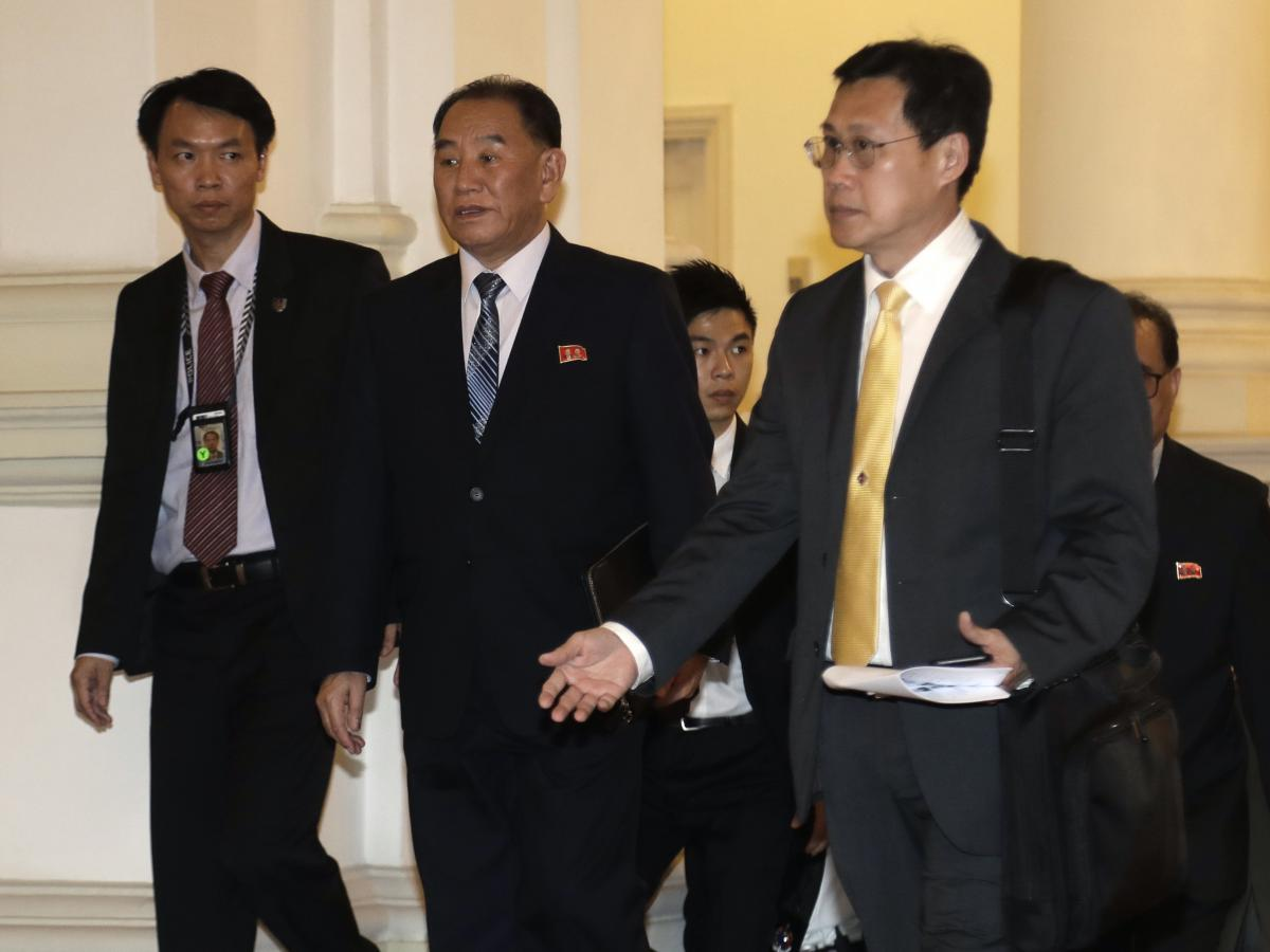 Kim Yong Chol arrives at Singapore's presidential palace on Sunday.