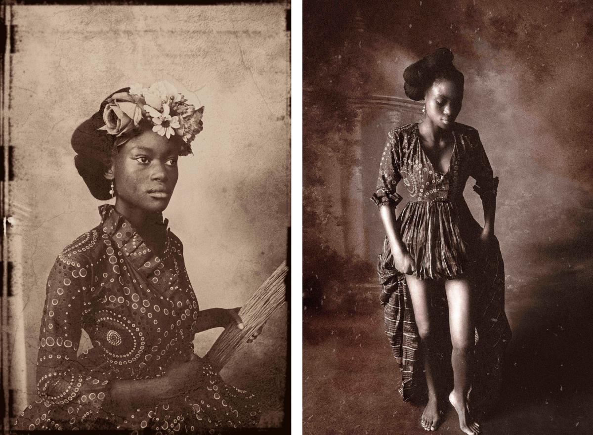 """These portraits connect the art of the West — two Rembrandt works — and Africa. Sight Unseen I (left), inspired by Rembrandt's portrait """"Sakia as Flora,"""" brings in a broom as an African implement. In Sight Unseen II, modeled after his painting """"Bathsh"""