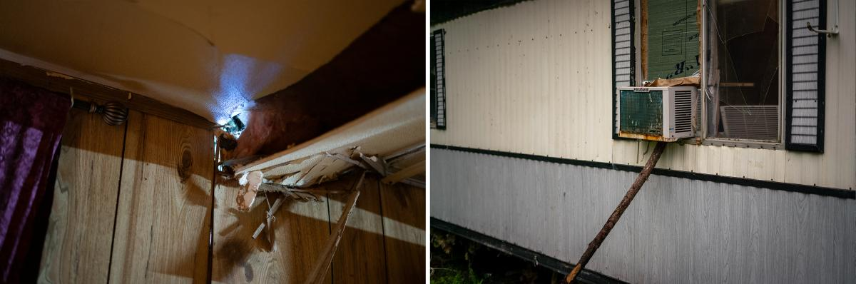 Hurricane Laura was the strongest storm to make landfall in the U.S. last year. Its 150-mph winds caused serious damage to the Speights' mobile home. A tree caused a hole (left) in the bedroom ceiling. A small air conditioner (right) provides some relief