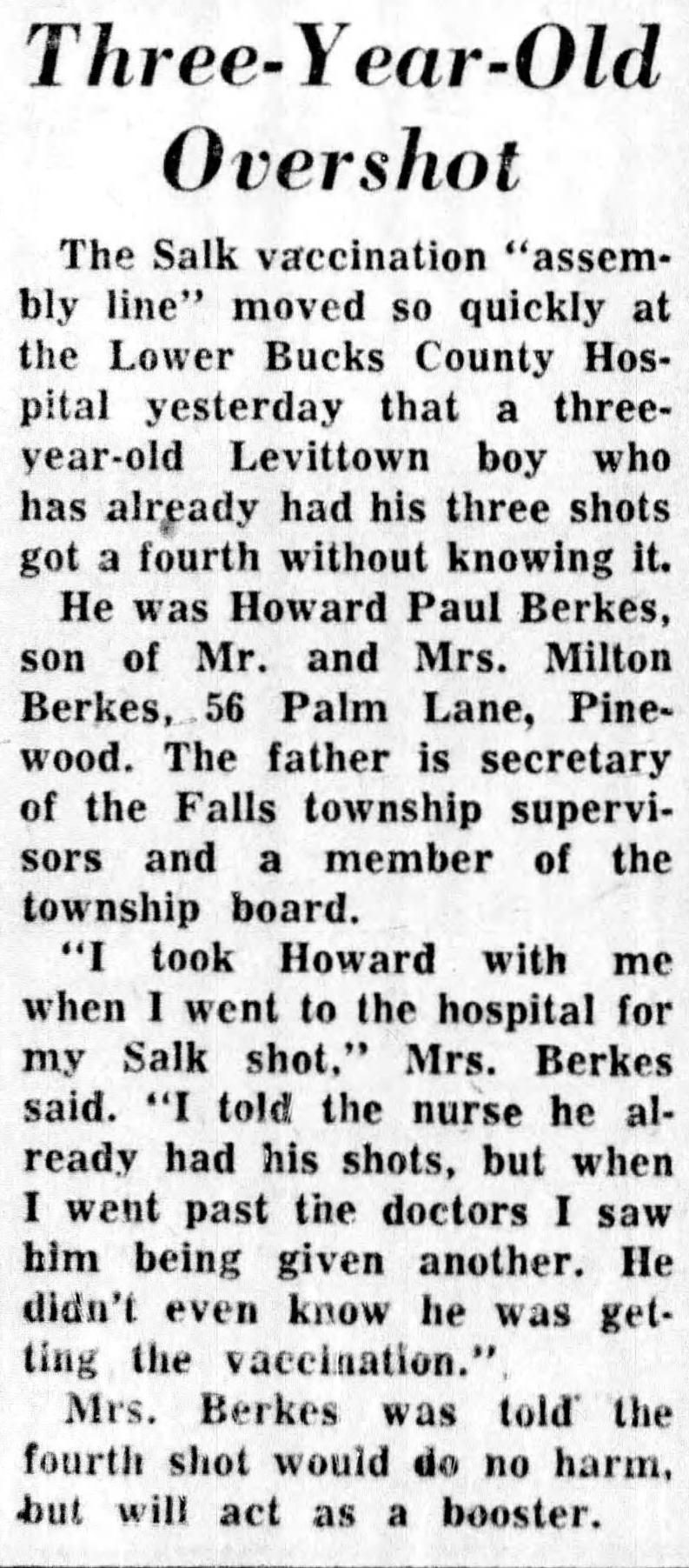 """A newspaper clipping from the 1950s describes Howard Berkes' accidental """"extra"""" vaccination for polio when he was a child."""
