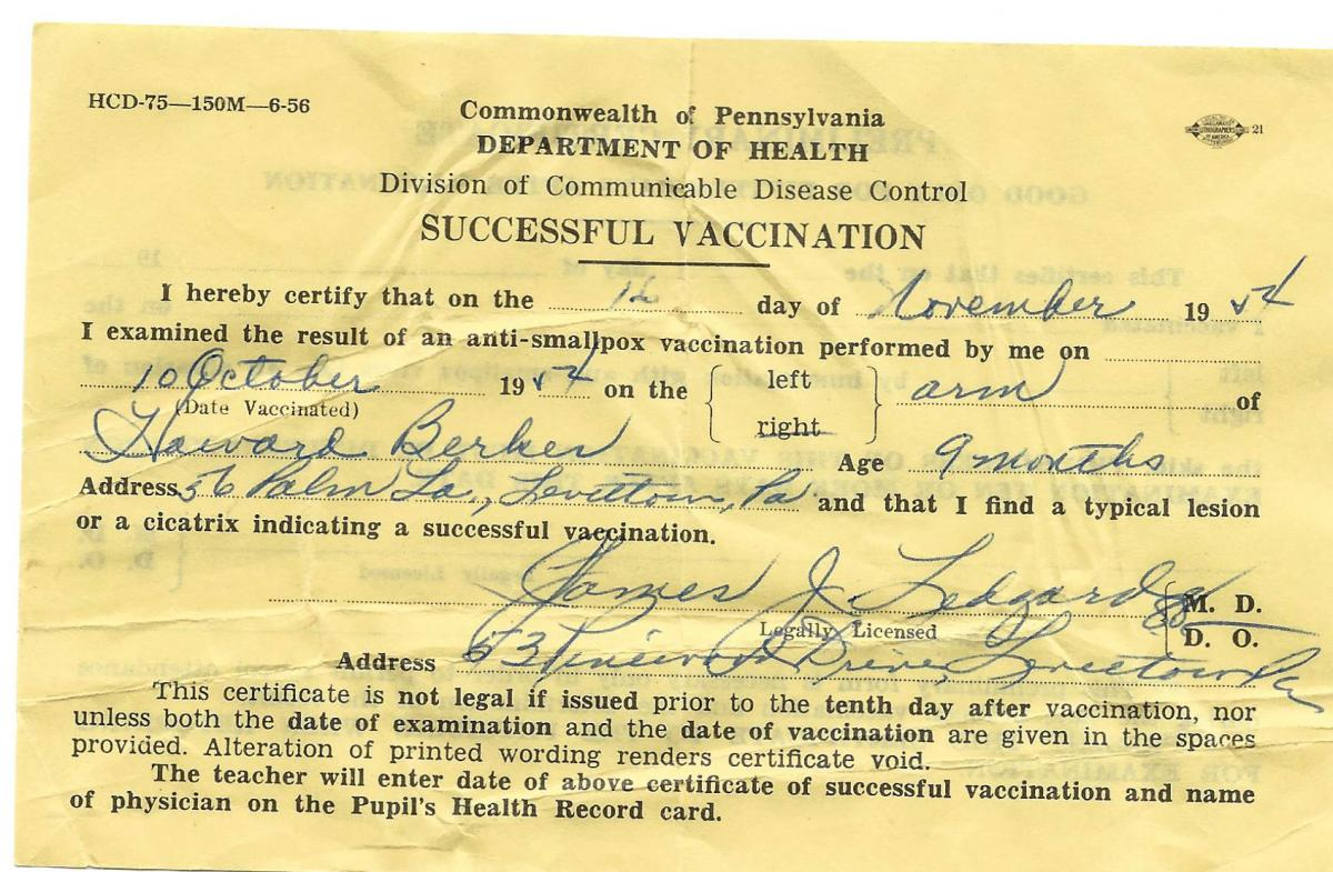 Berkes still has the vaccination form he received from being inoculated against smallpox in 1954 as an infant.