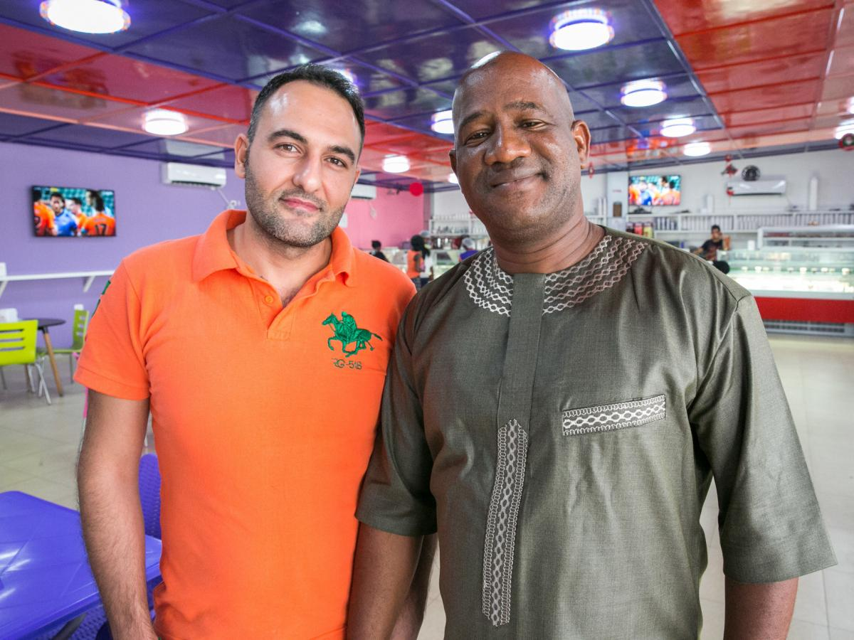 Mohamed Skaiki (left), from Lebanon, is the owner of Nice Cream — although he has brought in a Liberian partner, Ansu Kanneh.