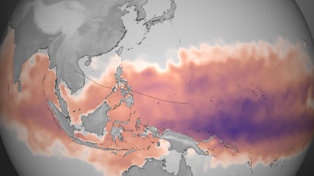 This map from the NOAA Environmental Visualization Laboratory shows the amount of heat energy available to Typhoon Haiyan between Oct. 28 and Nov. 3. Darker purple indicates more available energy. Typhoons gain their strength by drawing heat out of the oc