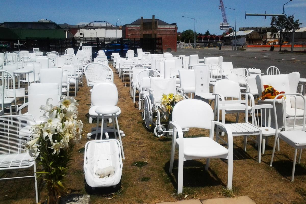 A memorial comprising empty chairs commemorate the 185 people killed by the Christchurch earthquake on Feb. 22, 2011.
