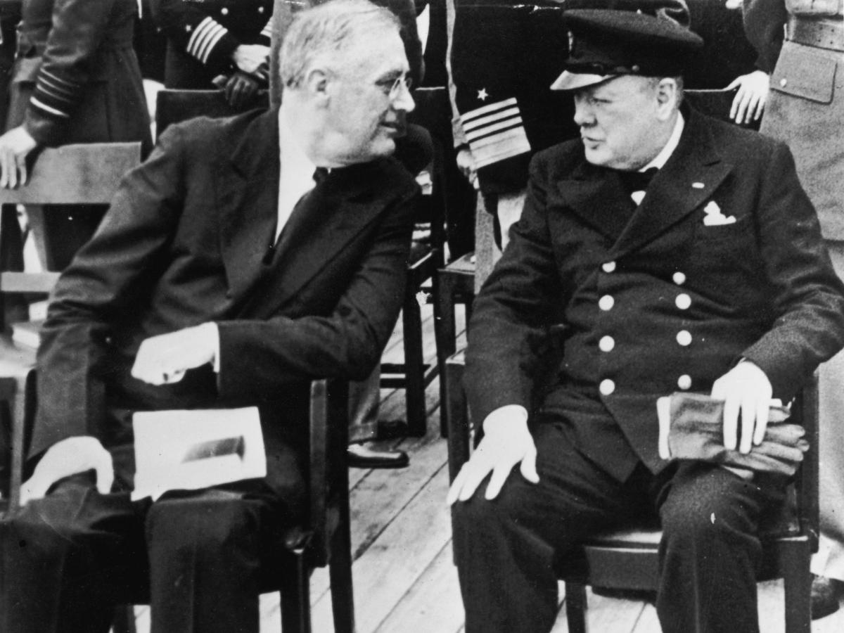 President Franklin D. Roosevelt and British Prime Minister Winston Churchill aboard a ship off Newfoundland in 1941, where they signed the original Atlantic Charter.