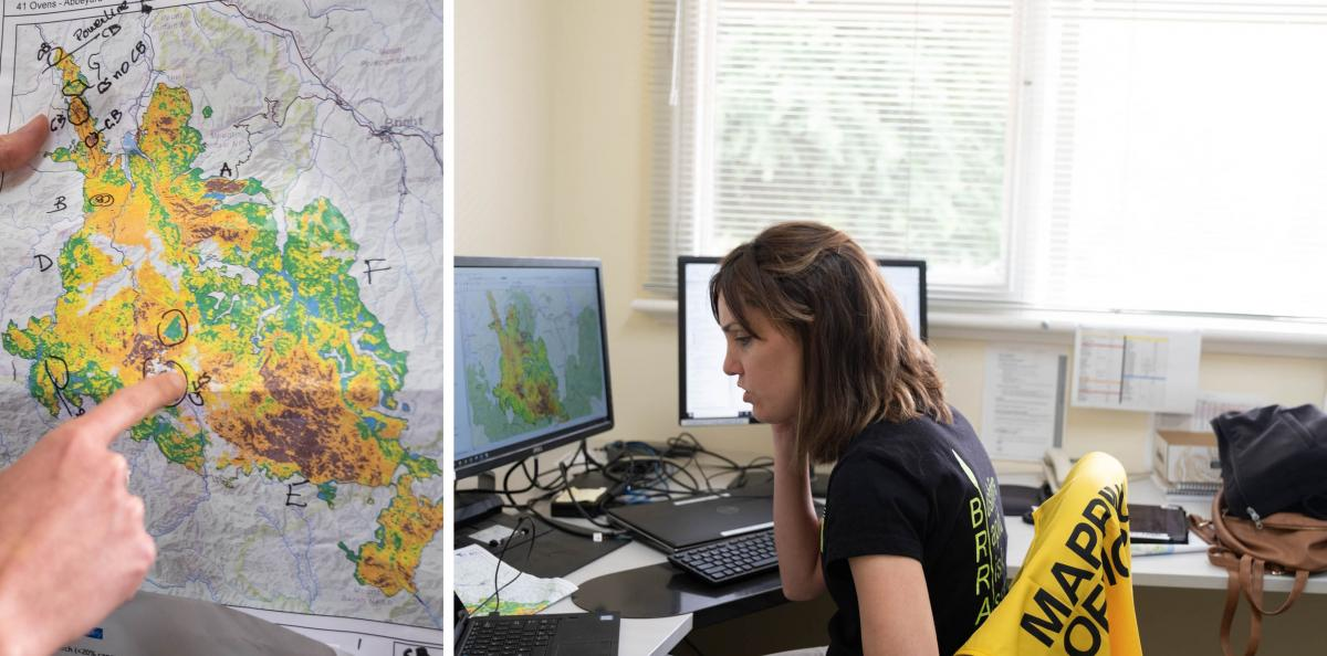 Estrella Melero-Blanca, a risk analyst for Department of Environment, Land, Water and Planning, maps areas of damage from a recent fire in Buffalo National Park in the Australian state of Victoria. She's part of a team that helps determine where debris fl