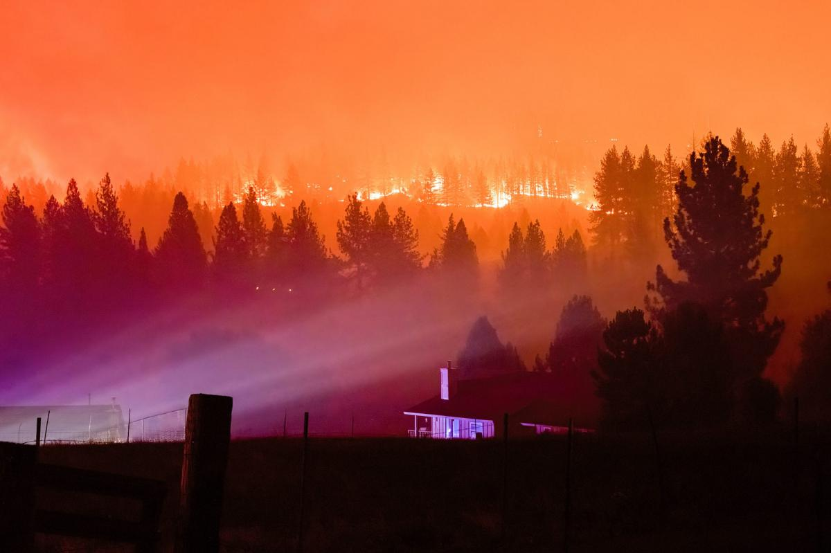 After starting in remote mountains, the Tamarack Fire burned toward the town of Markleeville, Calif. in mid-July.