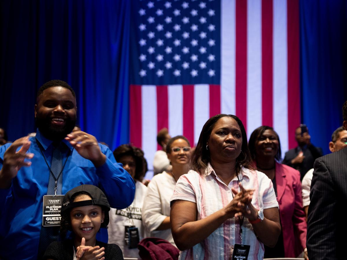 Supporters listen as President Trump talks about his plan for Black Americans at an event in Atlanta last month.