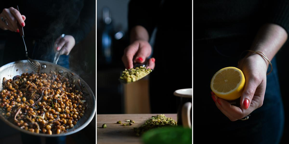 Roman stirs the chickpeas as they cook from the recipe Frizzled Chickpeas and Onions with Feta and Oregano, scoops chopped pistachios onto a knife, and a holds half lemon to be squeezed into yogurt.