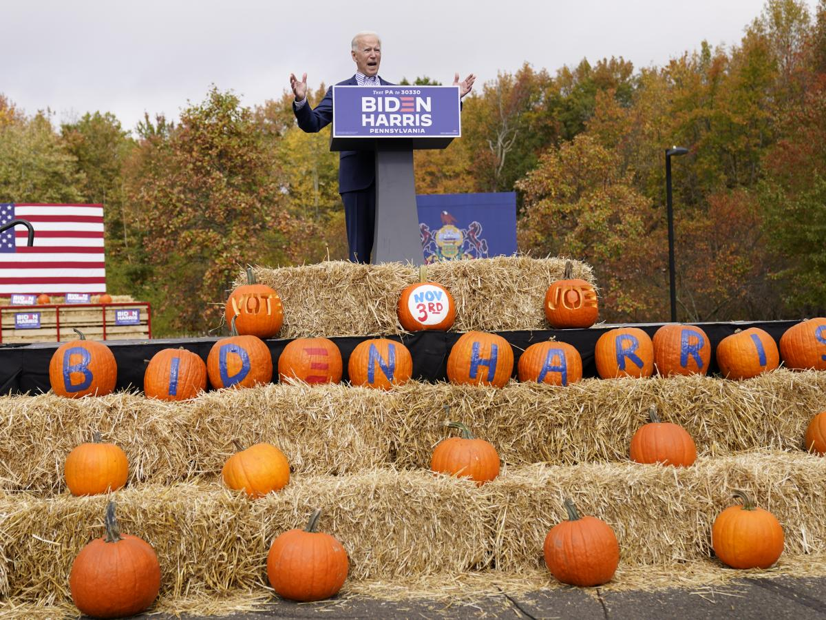 Democratic presidential candidate Joe Biden speaks at a campaign stop in Bristol, Pa. Appearances by him and his surrogates follow social distancing guidelines.