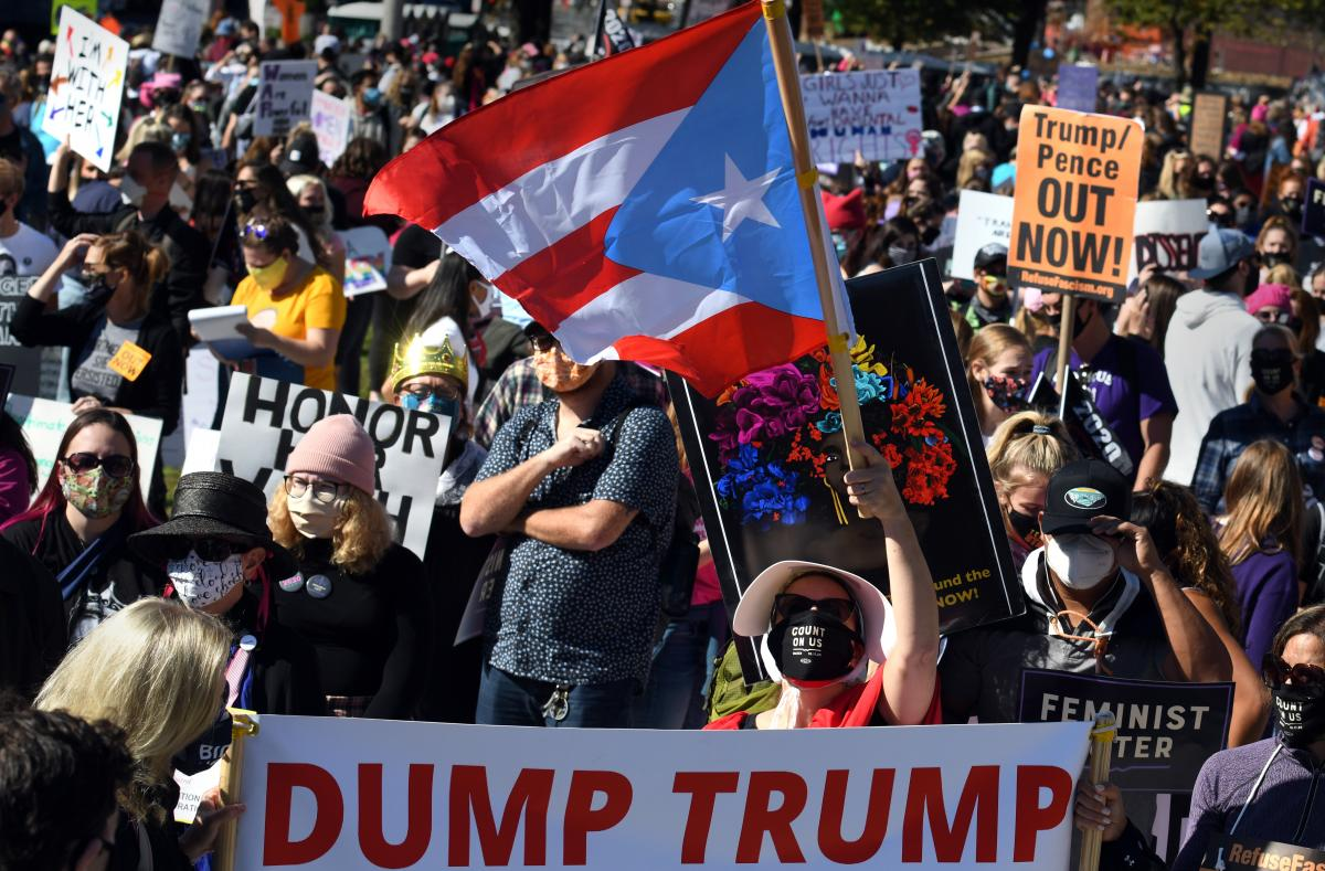 Protesters in Washington, D.C., are rallying against President Trump and the nomination of Judge Amy Coney Barrett to the Supreme Court.