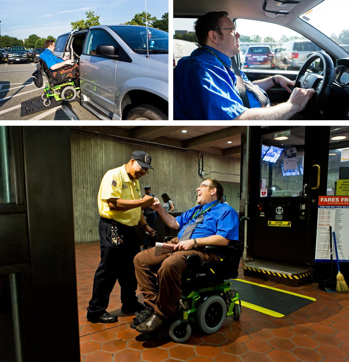 (Top left) Olsen re-enters his van to drive to an alternative Metro entrance after learning that one of the elevators is not working. (Top right) Olsen often leaves for work early to avoid crowded cars during rush hour. (Bottom) Olsen greets Metro station