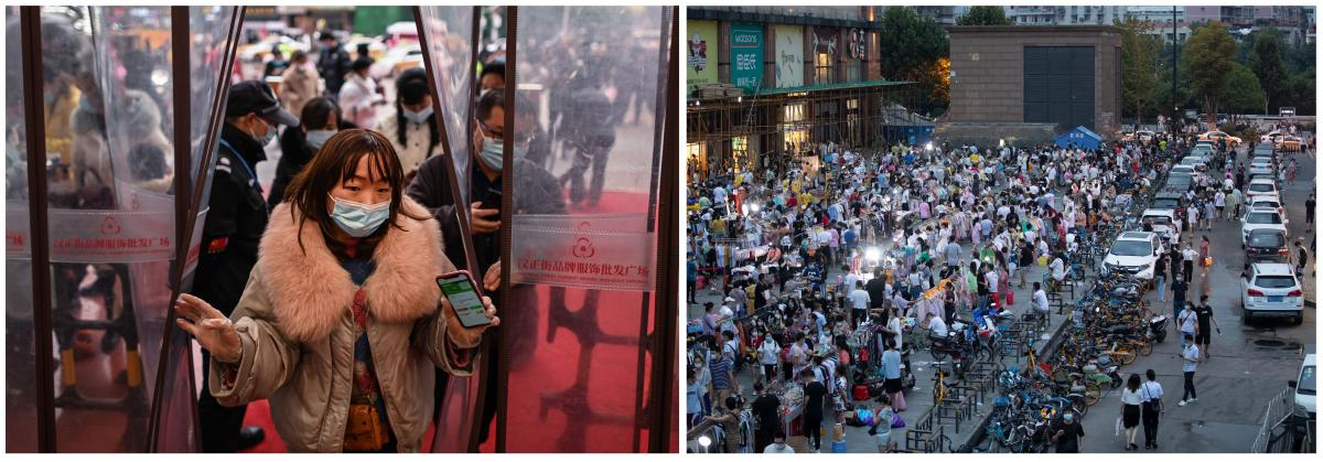 Post lockdown scenes from Wuhan: On Jan. 22, 2021, a woman enters a shopping mall after showing her health code, assigned by the government to indicate COVID-19 status; shoppers browse in the night market in front of Dayang department store on June 12.