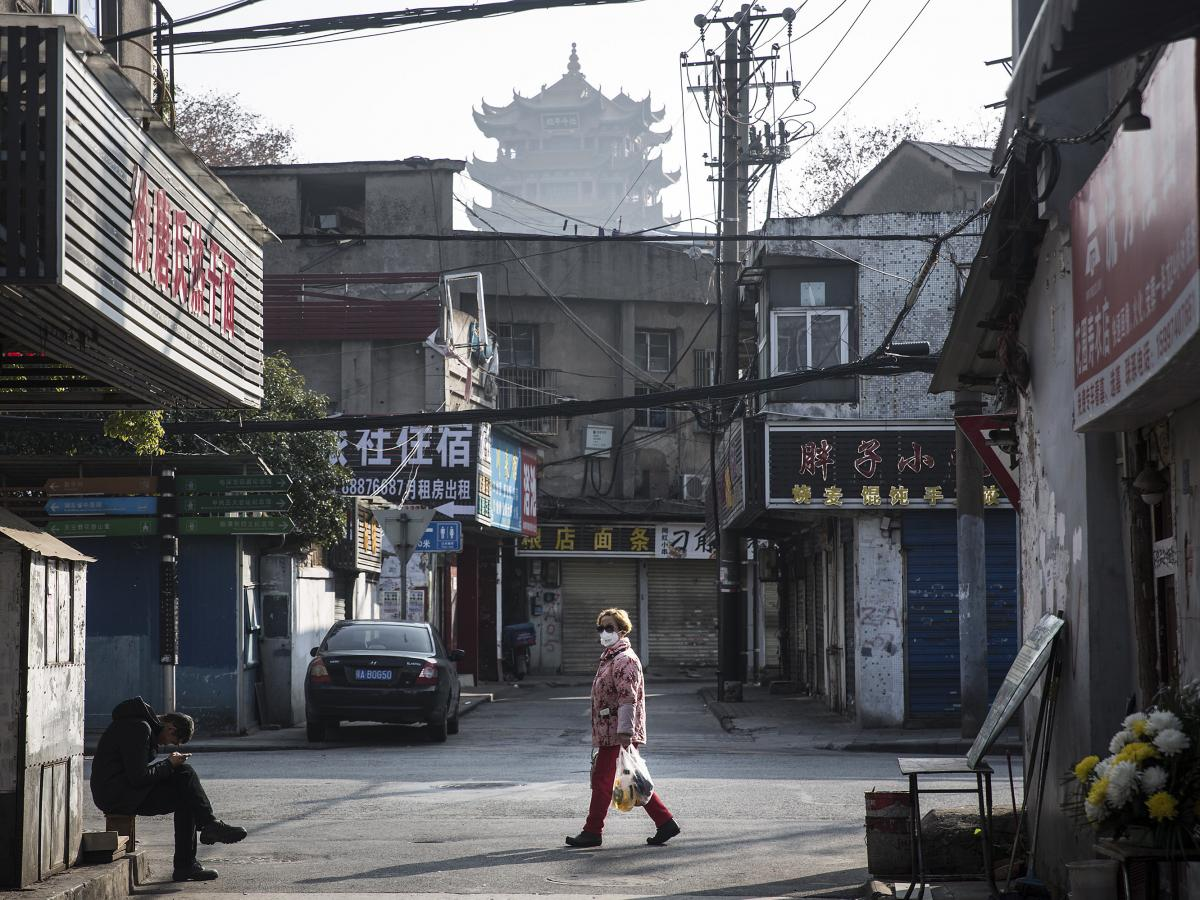 A street scene in Wuhan on Jan. 31. The 76-day absolute lockdown had begun days earlier. Nearly all of the city's 11 million residents could not leave their apartments.