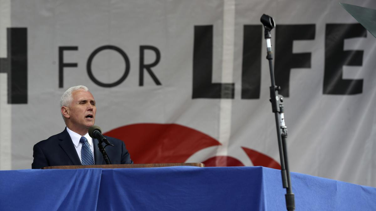 Vice President Mike Pence addressed marchers in 2017.