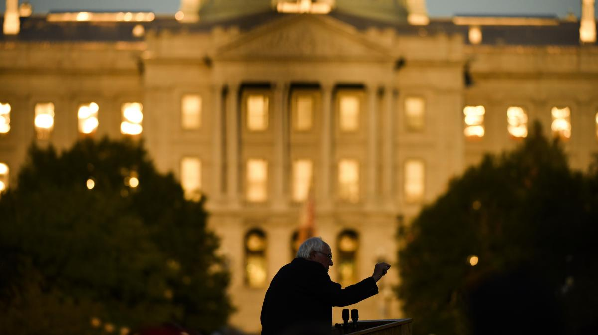 Democratic presidential candidate Sen. Bernie Sanders speaks in front of the Colorado State Capitol earlier this week.