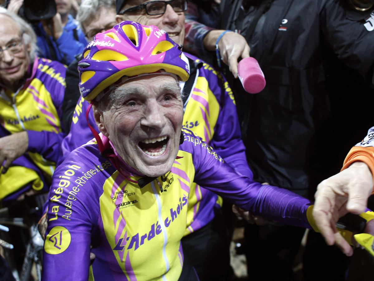 French cyclist Robert Marchand, 105, reacts after setting a record for distance cycled in one hour, at the velodrome of Saint-Quentin en Yvelines, outside Paris on Wednesday.