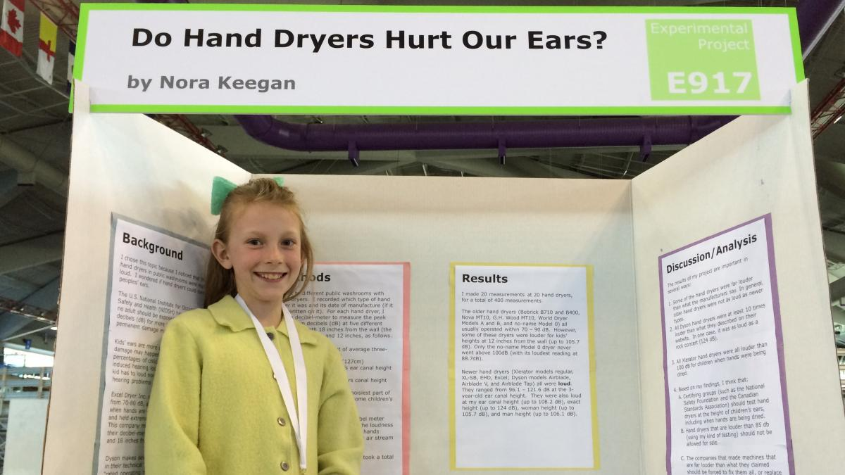 Nora Keegan, then in the fifth grade, presents her research findings in 2016.