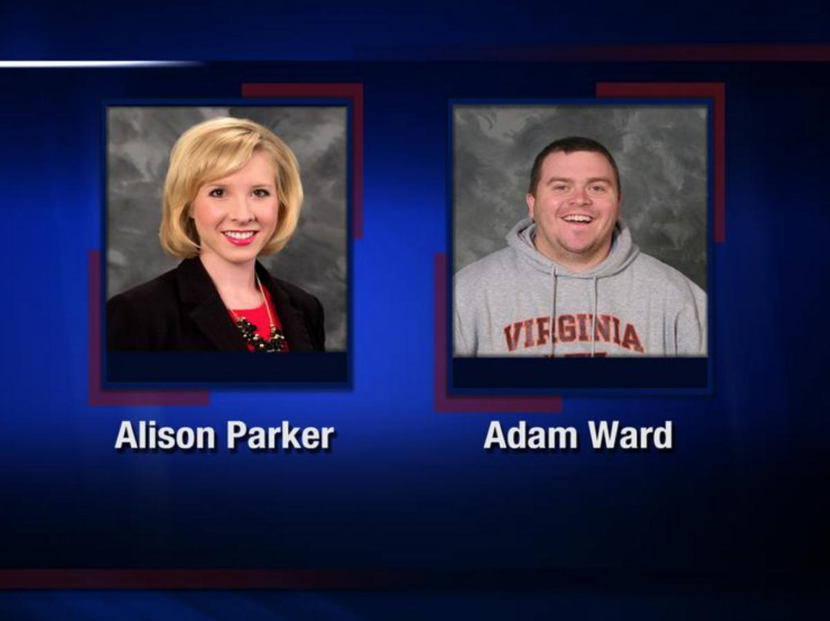 Reporter Alison Parker and photojournalist Adam Ward were killed by a gunman Wednesday morning while broadcasting live in Moneta, Va. WDBJ7 paid tribute to the two journalists by sharing this image on Twitter.