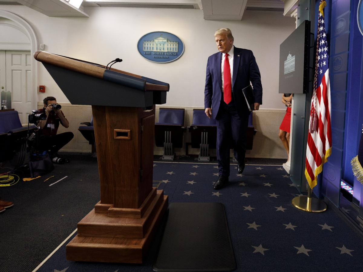 President Trump arrives for a news conference at the White House on Thursday in Washington, D.C.