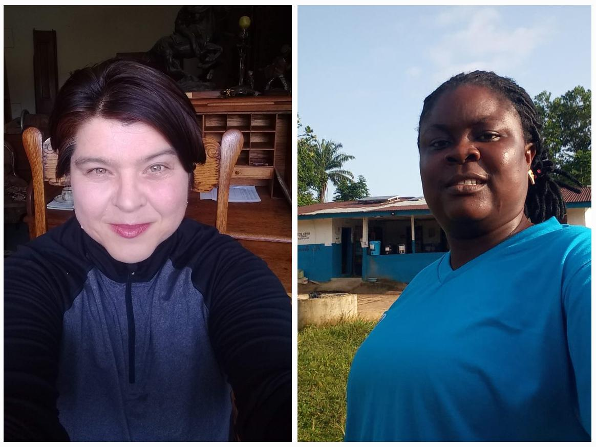 Left: Jana De Brauwere, program manager at the San Francisco Public Library is now contact tracing through the State of California. Right: Rachel Saykpah, quality assurance officer for Last Mile Health in Liberia has overseen contact tracers in Africa sin