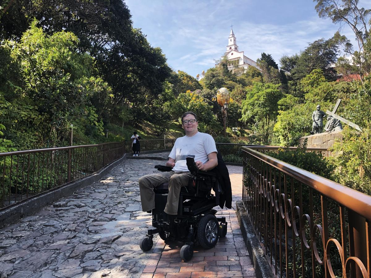 John Morris, here in Bogotá, Colombia, has a website called Wheelchair Travel and hosts a travel podcast.