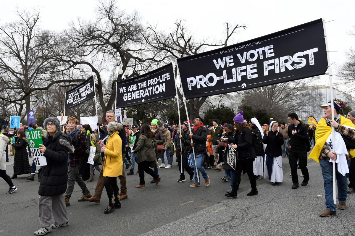 Anti-abortion-rights activists participate in the March for Life rally near the Supreme Court in Washington, D.C., on Jan. 24.