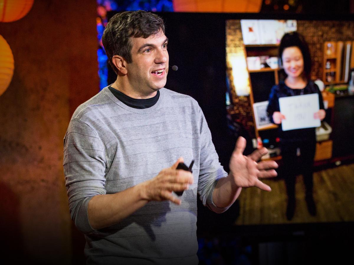 A.J. Jacobs speaks at TEDNYC Intersections in 2018.