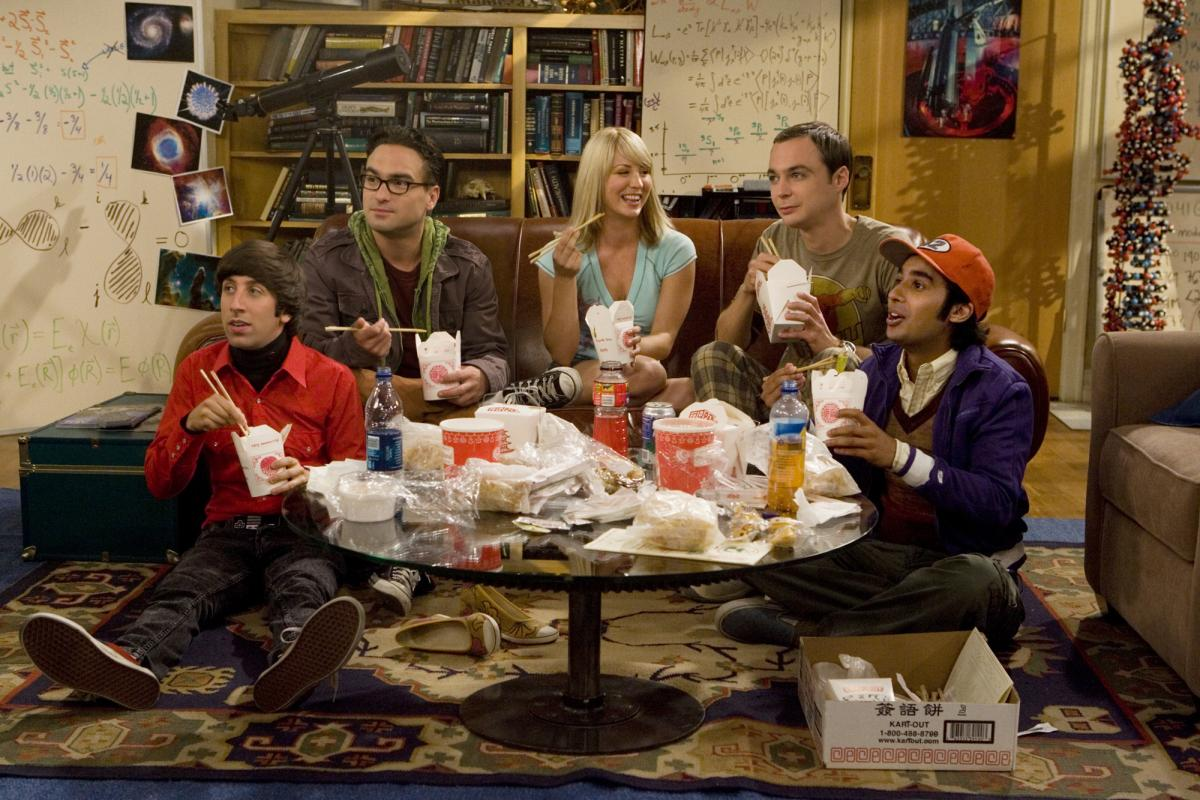 """The characters in The Big Bang Theory were """"outliers"""" who formed a """"surrogate family,"""" says show co-creator Chuck Lorre. Above, Simon Helberg, left, Johnny Galecki, Kaley Cuoco, Jim Parsons and Kunal Nayyar."""