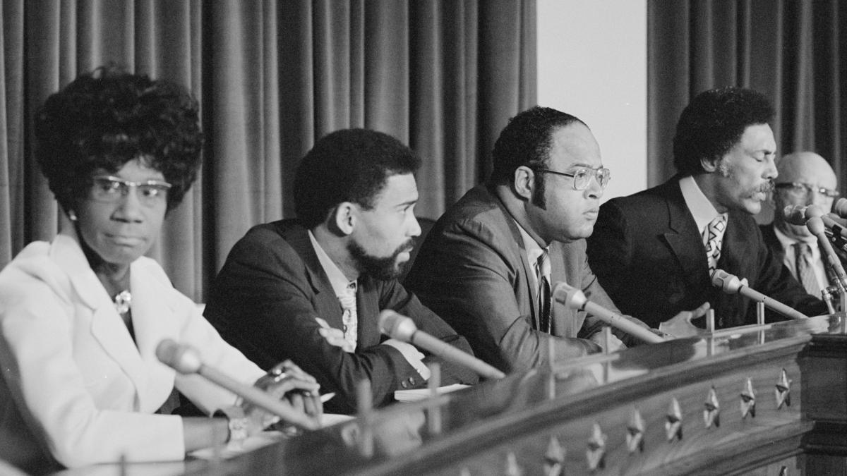 Former U.S. Rep. Bill Clay from Missouri (second from left) with members of the Congressional Black Caucus May 24, 1971 in Washington. D.C. Clay was elected in 1968 after Black state lawmakers joined with Republicans to create a congressional map that inc
