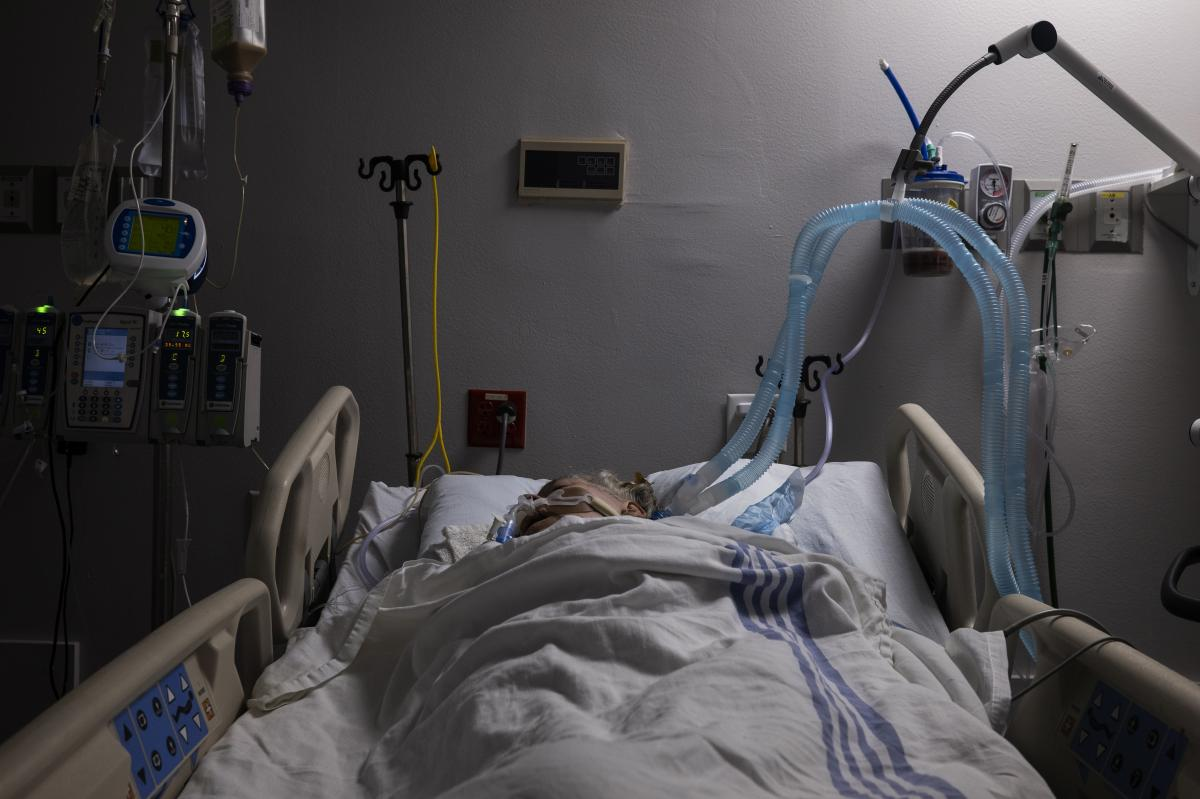 A COVID-19 patient in the intensive care unit at United Memorial Medical Center in Houston on July 28.