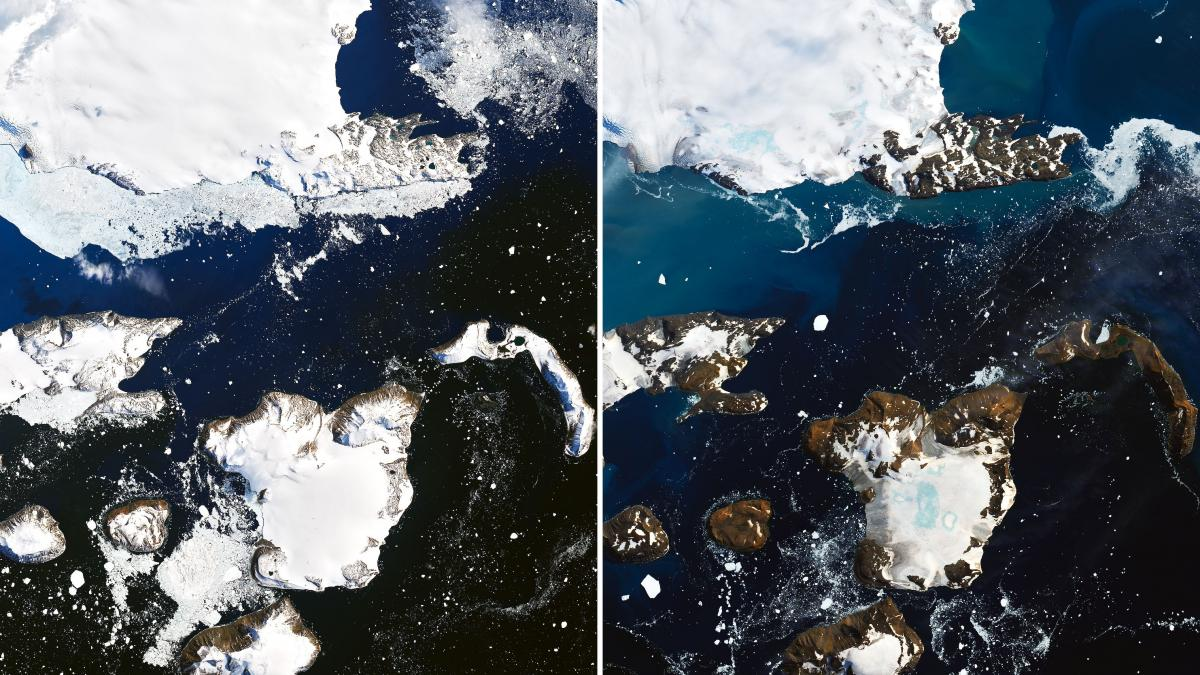 Satellite images show the effects of a prolonged warm spell on Eagle Island, in the far north of the Antarctic Peninsula, NASA says. An inch of snowpack melted in just one day, the agency says. The blue areas in snow on the right are ponds of melted water