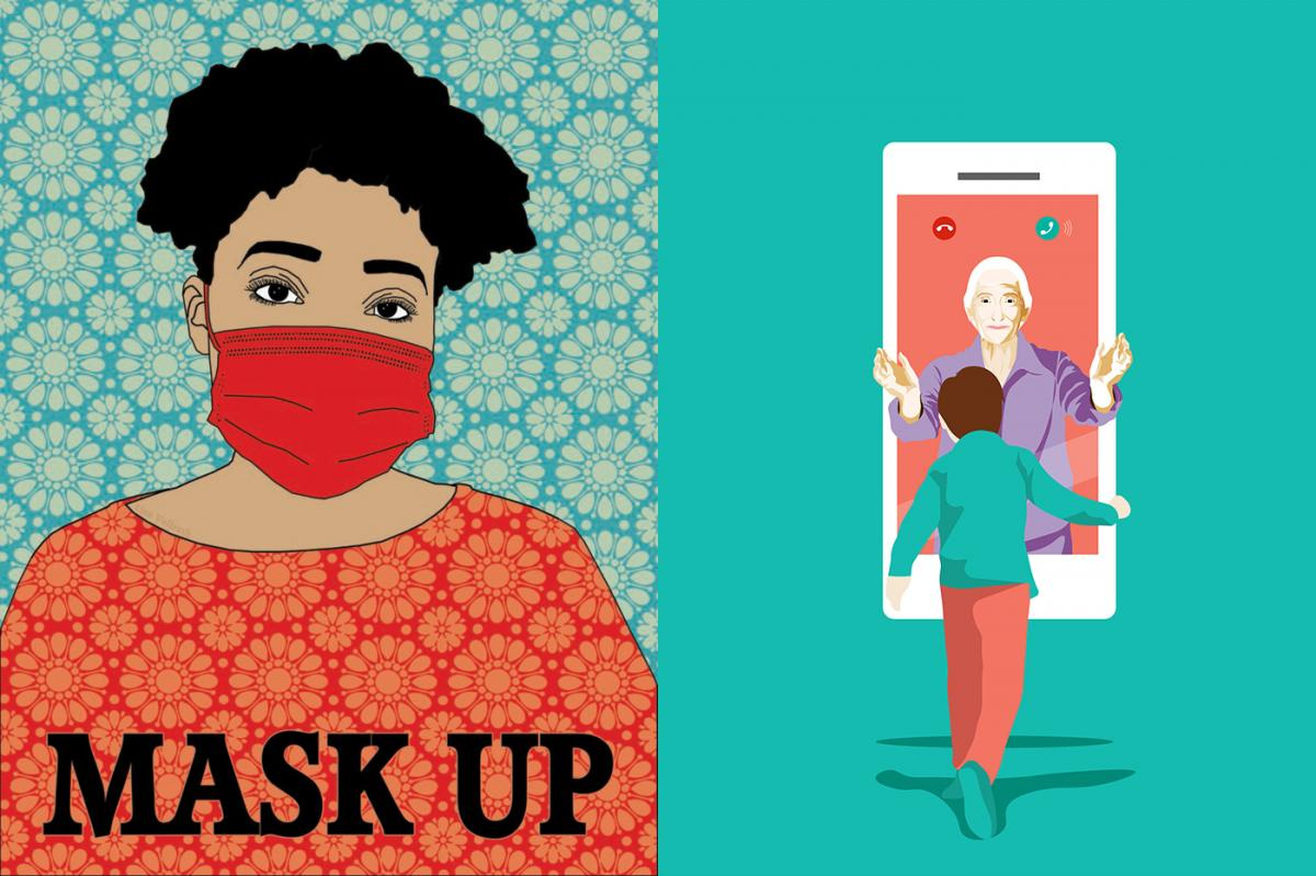 """Right: """"Mask Up,"""" a submission to Amplifier, an arts group. Left: """"Grandmother's Affection — For Global Health,"""" a submission to the United Nations."""