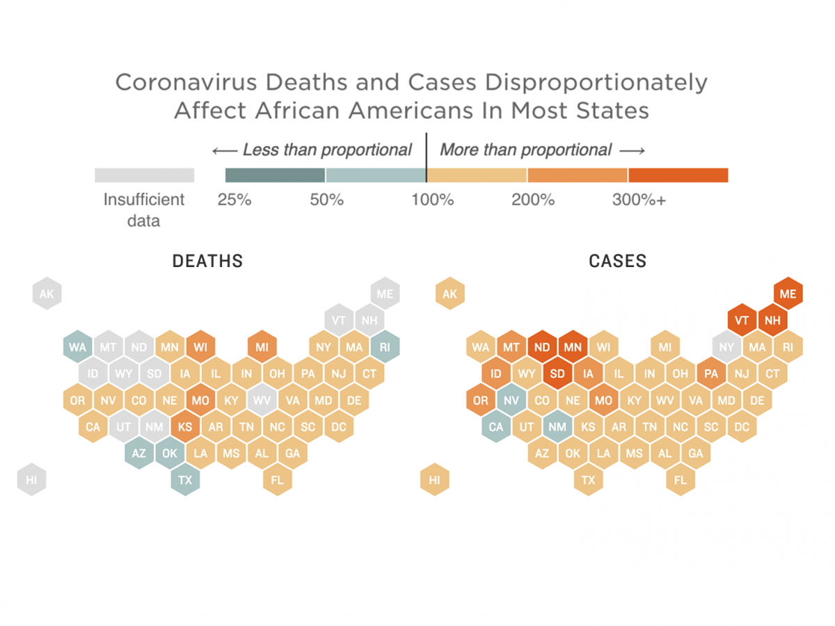 Map of disproportionate COVID-19 outcomes for African Americans