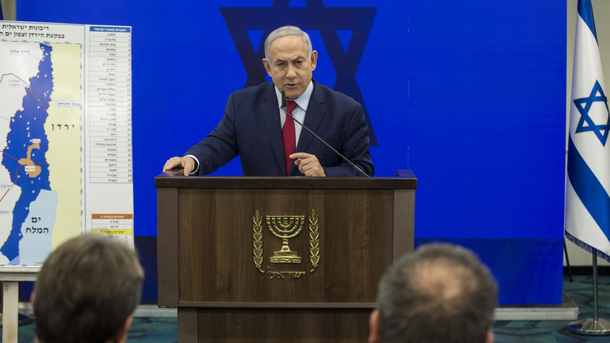 Israeli Prime Minister Benjamin Netanyahu announces his pledge Tuesday to annex the Jordan Valley in the West Bank if he wins reelection in next week's vote.