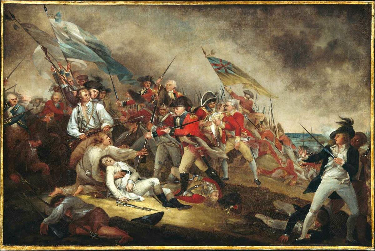 John Trumbull's painting The Death of General Warren at the Battle of Bunker Hill. Peter Salem is thought to be the figure in the lower right.