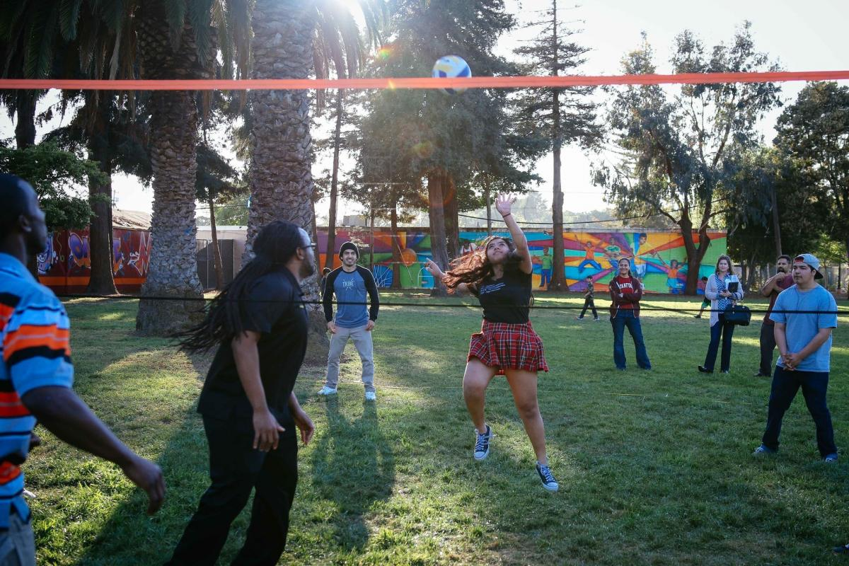 In a FIT zone at Bell Street Park in East Palo Alto, Calif., friends from the neighborhood now gather regularly to play volleyball.