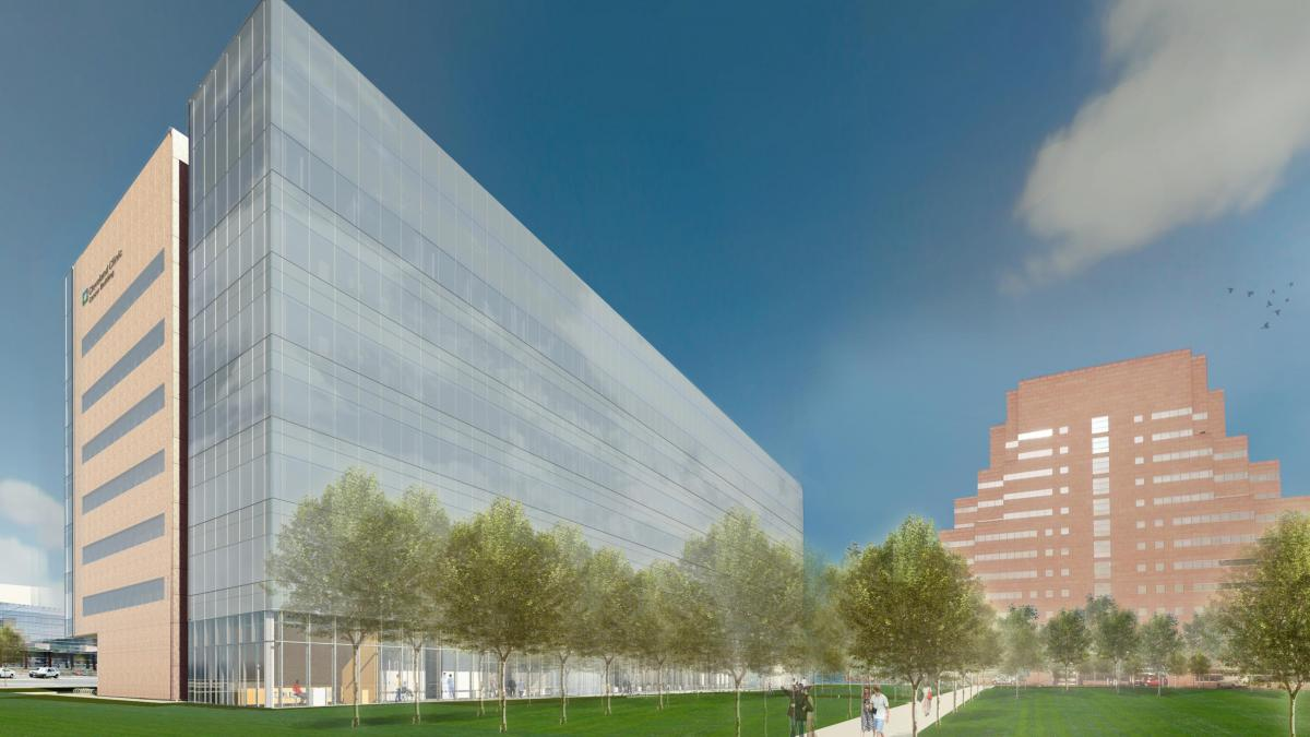 An architectural rendering of the Cleveland Clinic's planned cancer center.