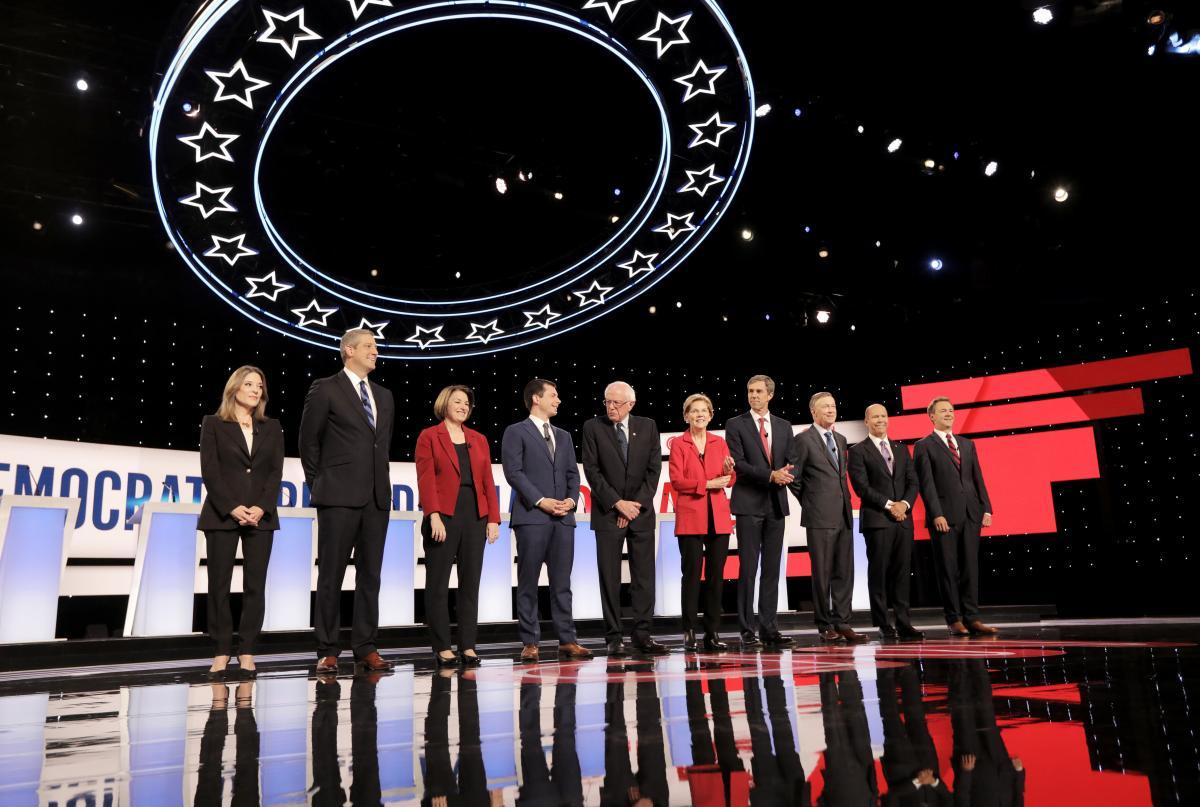 From the Democratic presidential debates hosted in Detroit, candidates (left) Marianne Williamson, Rep. Tim Ryan, Sen. Amy Klobuchar, Mayor Pete Buttigieg, Sen. Bernie Sanders, Sen. Elizabeth Warren, former Rep. Beto O'Rourke former Gov. John Hickenlooper