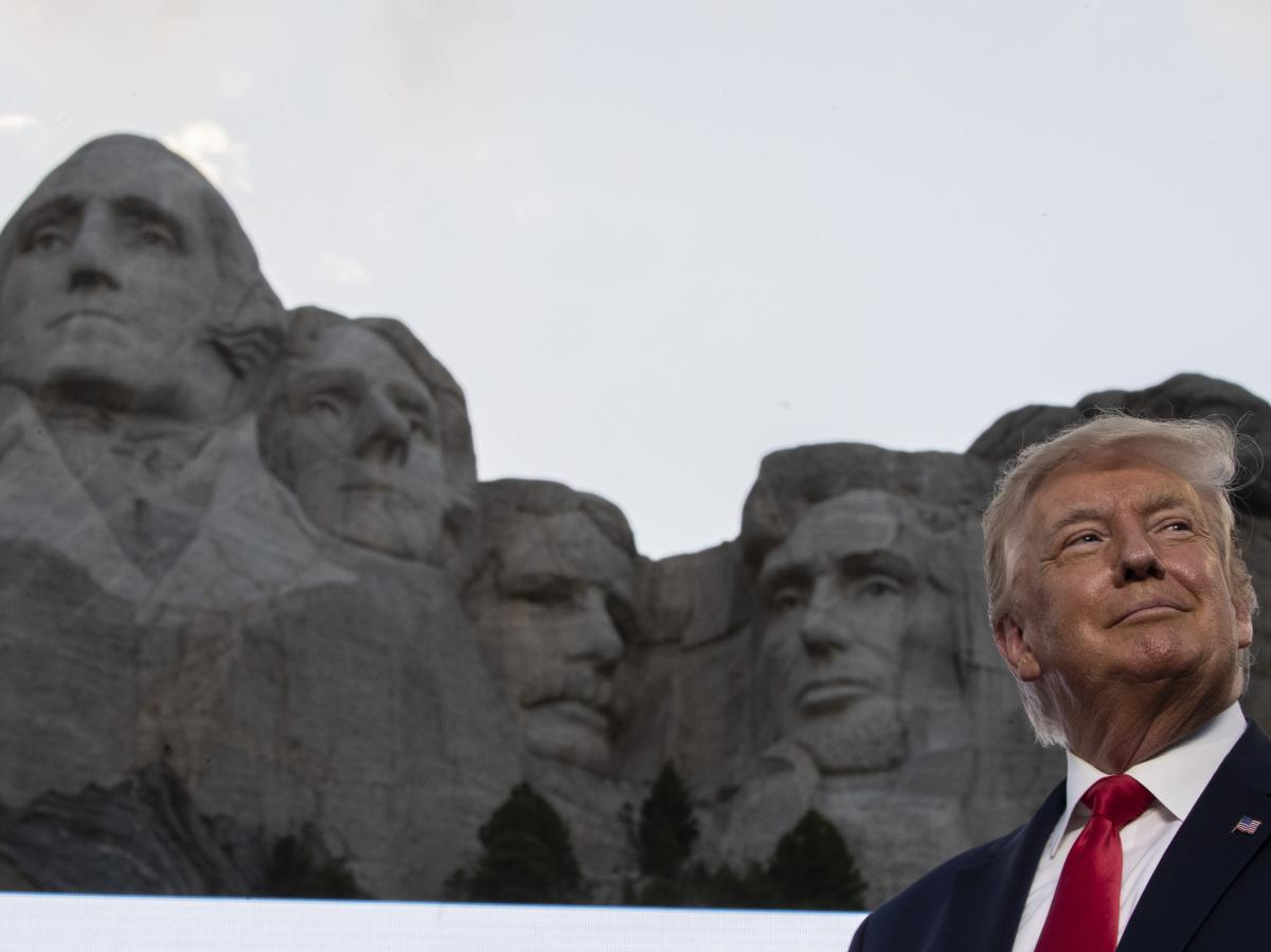 President Trump had little to say about the coronavirus pandemic during remarks Friday at Mount Rushmore National Memorial in South Dakota.