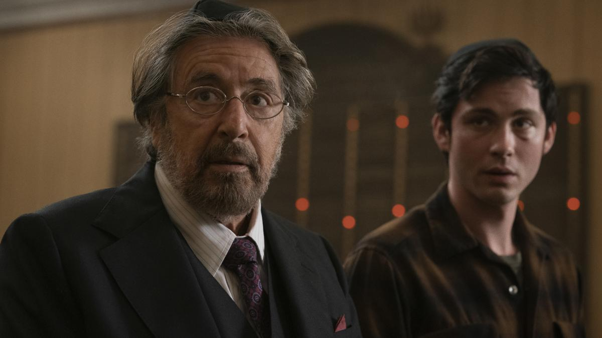 Yes, Al Pacino (seen here with Logan Lerman) is in Hunters, Amazon's new show about a band of Nazi hunters in the 1970s, but he's not the most interesting thing about it.