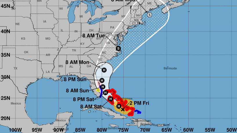 Hurricane Isaias will maintain its hurricane status for several days as it passes along Florida's central Atlantic coast, the National Hurricane Center says. The storm's forecast cone predicts it will hug the southeastern U.S. coastline.