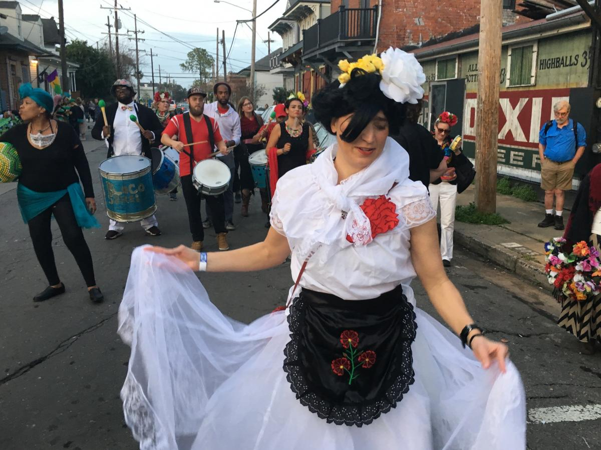 New Orleans resident Annie Gibson parades dressed as Frida Kahlo with Krewe de Mayahuel, a Mardi Gras krewe organized by the Mexican immigrant population in the city.